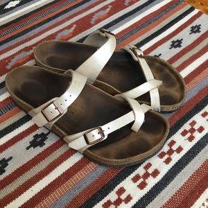 "Birkenstock ""Mayari"" Two Strap Sandal, Pearl, 9"